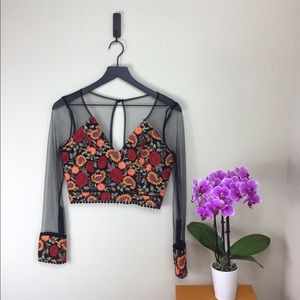 Luxxel Mesh Floral Long Sleeve Crop Top